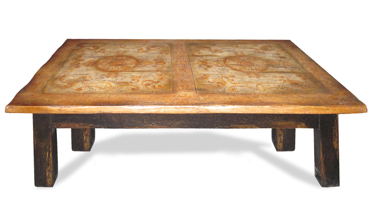 Coffee Table Morocco Black Distressed Old World Top