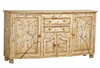 "Credenza, Crossroads Rosa Finish<br> with ""Birds in the Park"" Artwork"