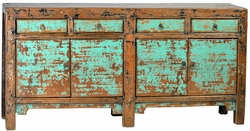 Edmonda Antique Aqua 4 Drawer Sideboard