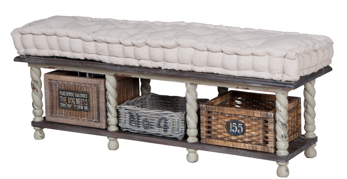 Ordinaire European Farmhouse Storage Bench