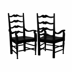 Farmhouse Ladderback Arm Chair - one pair