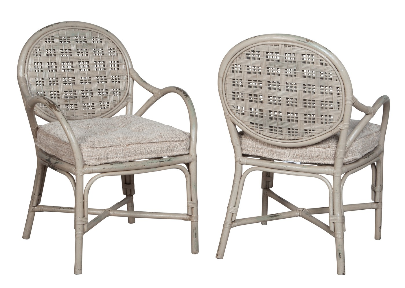 Farmhouse Rattan Arm Chair   One Pair