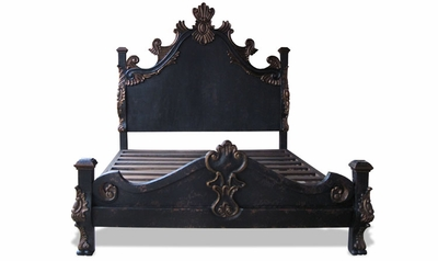 French Country Hand Carved Bed, French Black