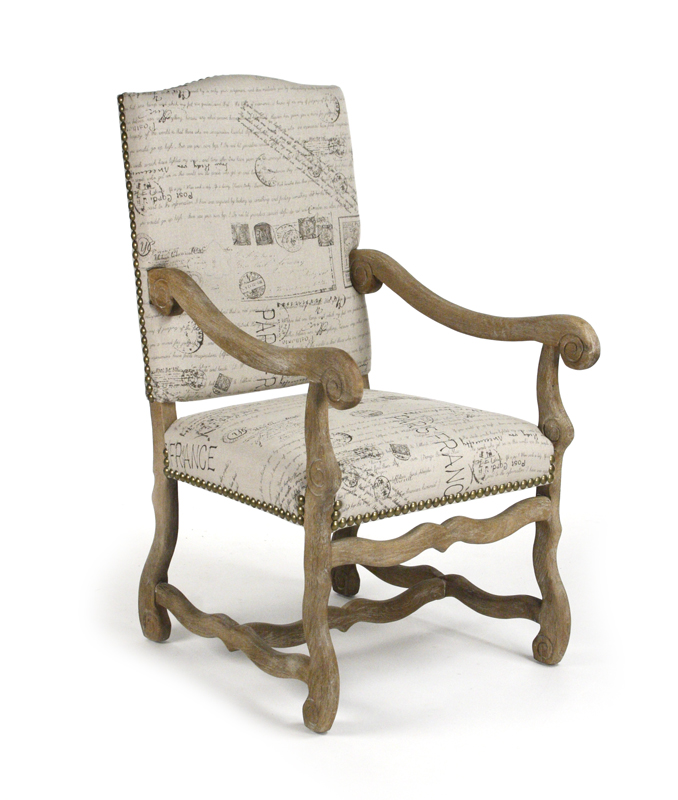 Julien arm chair natural linen with french script prints