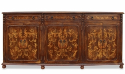 Hand Painated Torched Narrow Sideboard, Mocha