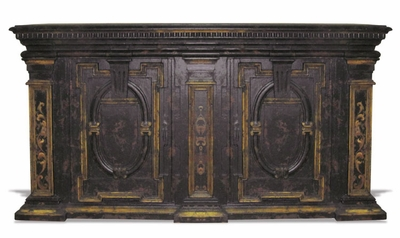 Hand Painted Buffet, Grand Estates Black  Baroque