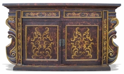 Hand Painted Buffet Manchester Distressed Brown Baroque