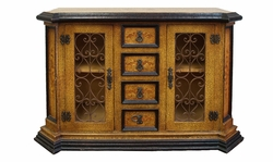 Hand Painted Crackle Old World Buffet with Wrought Iron, Virrey