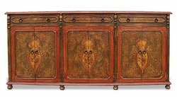 Hand Painted Crackled Narrow Sideboard, Mocha