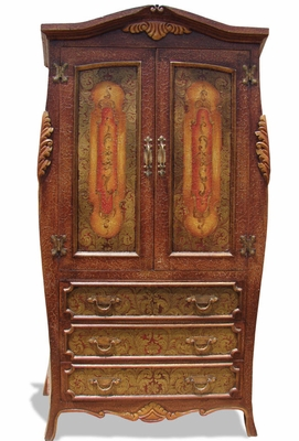 Hand Painted Distressed Armoire Bombay