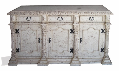 Hand Painted Distressed Bone Buffet, San Isidro
