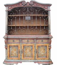 Hand Painted Distressed Hutch, Leor