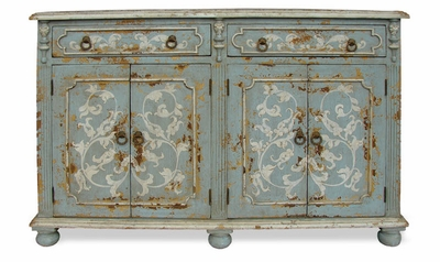 Hand Painted Distressed   Narrow Buffet, Mocha