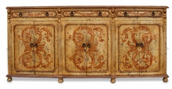 Hand Painted Distressed Narrow Sideboard, Mocha