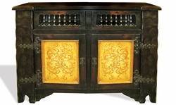 Hand Painted Distressed Old World Buffet with Wrought Iron, Tokosh