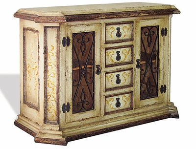 Hand Painted Distressed Old World Buffet with Wrought Iron, Virrey