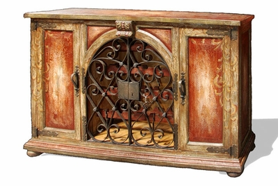 Hand Painted Distressed Old World Sideboard with Wrought Iron Gates, Olivos