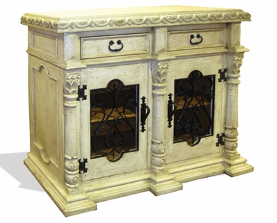 Hand Painted Distressed Old World Sideboard with Wrought Iron, San Isidro