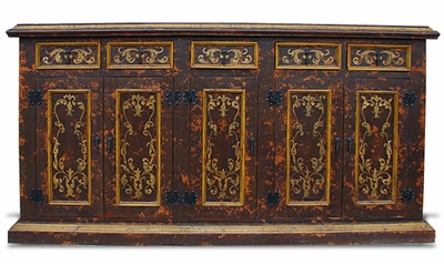 Hand Painted Distressed Sideboard, Colonial