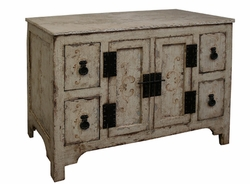 Hand Painted Distressed Sideboard with Marble Top, Caballero