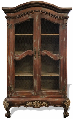 HAND PAINTED FRENCH ARMOIRE WITH WIRE MESH