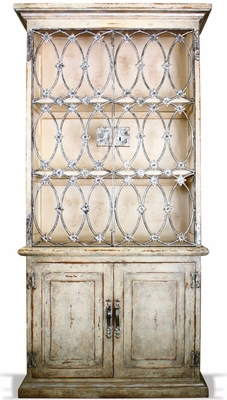 Hand Painted French Blanc Armoire with Gun Metal Iron