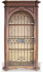 Hand Painted Old World Armoire, Wrought Iron