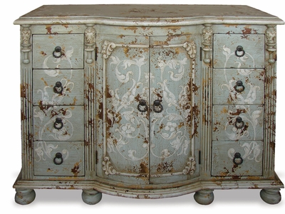 Hand Painted Old World Vanity Chest Celeste