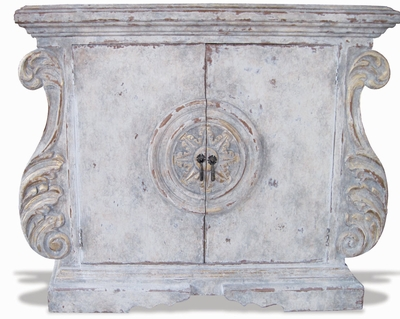 Hand Painted Ornate Chest, Sol French Blanc