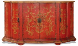 Hand Painted Sideboard Ashley Red Baroque Distressed