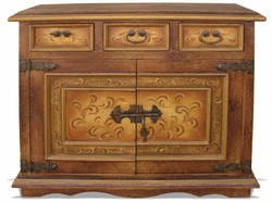 Hand Painted Sideboard, Crackled Brown