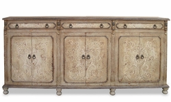 Hand Painted Torched Narrow Sideboard, Mocha