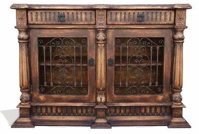 Hand Painted Torched Old World Buffet with Wrought Iron, Matthew