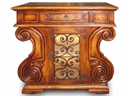 Hand Painted Torched Old World Sideboard with Wrought Iron, Leonarado