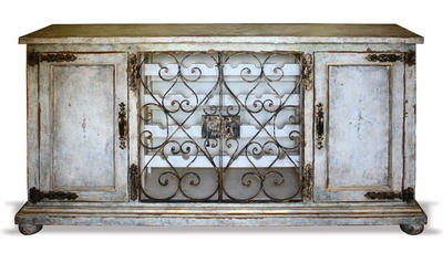 Hand Painted Wrought Iron Buffet Wine Cabinet