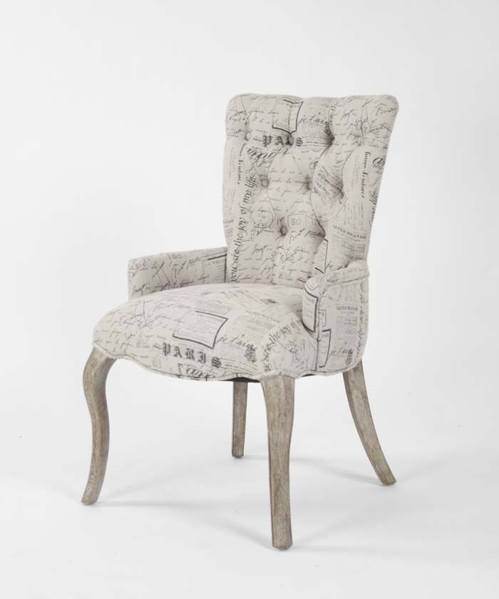 Iris Tufted Chair (French Script Fabric)