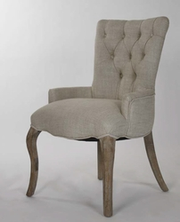 Iris Tufted Chair (Stained Oak) (Cream Natural Linen)