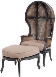 King Rattan Balloon Chair and Ottoman ( Grain De Bois Noir, Woodlands Statin)