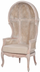 King Rattan Balloon Chair (White Wash)