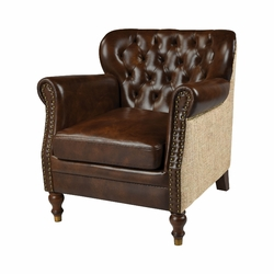 Leather Occasional Chair (Tan Leather, Natural Burlap)