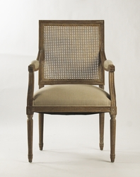 Louis Cane Back Arm Chair (Natural Linen-Limed Grey Oak)
