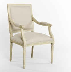 Louis Arm Chair (Natural Linen-Grey Oak)