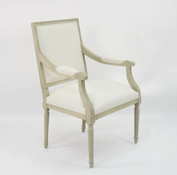Louis Arm Chair (White Cotton-Grey Oak)