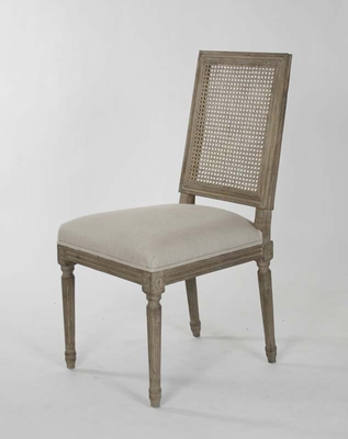 Louis Cane Back Side Chair (Natural Linen Limed Grey Oak   One Pair