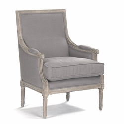 Louis Club Chair (Grey Linen-Limed Grey Oak)