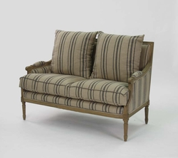Louis Settee (English Khaki Linen w/ Blue Stripes-Stained Oak)