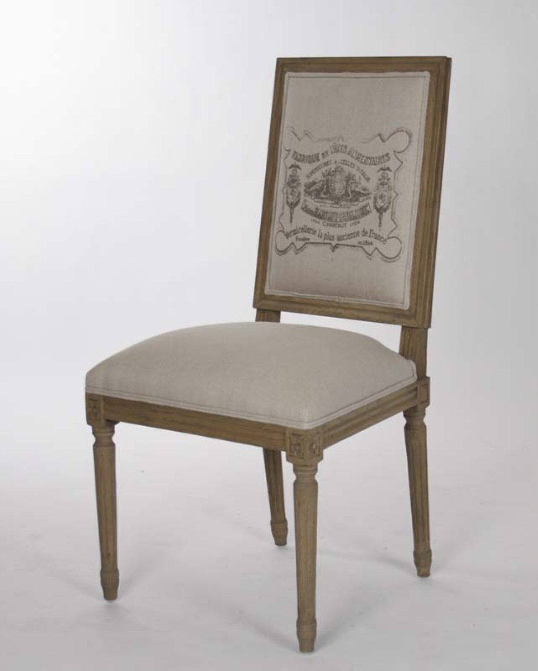 Louis side chair natural linen one pair