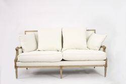 Louis Sofa (White Cotton-Natural Oak)