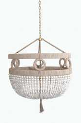 Malibu White Beaded Hanging Chandelier