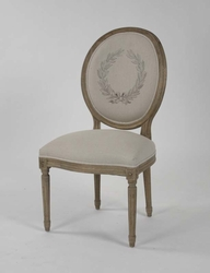 Medallion Chair (Natural Linen with Print - Stained Oak) - one pair